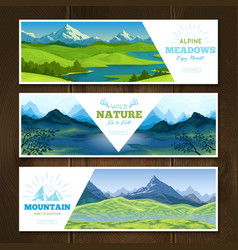 Alpine meadows banners set vector