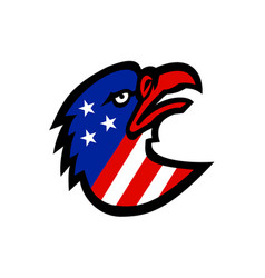 American flag inside eagle mascot vector