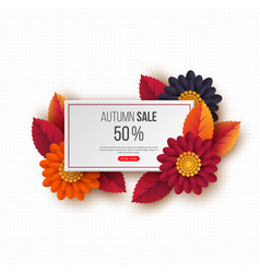 autumn sale rectangular banner with 3d leaves vector image