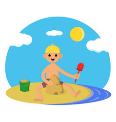 baon beach cute boy playing in sand vector image