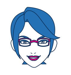 Beauty woman face with glasses and blue hair vector