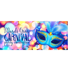 blue carnival mask on shining bokeh lights mardi vector image