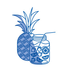 Blue shading silhouette of pineapple fruit and vector