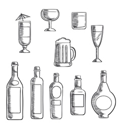 Bottles and glasses of alcohol beverages sketch vector