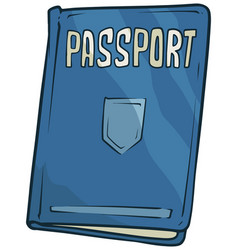 cartoon blue passport book with shield icon vector image