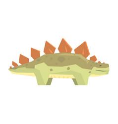 Cartoon stegosaurus dinosaur character jurassic vector
