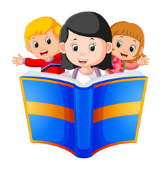 childrens reading big book vector image