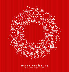 christmas and new year wreath outline icon design vector image vector image
