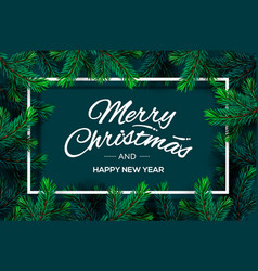 christmas tree branches template merry christmas vector image