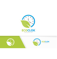 Clock and leaf logo combination time and vector