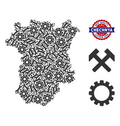 Collage chechnya map of industrial tools vector
