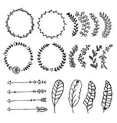 Collection of hand drawn design elements sketch vector