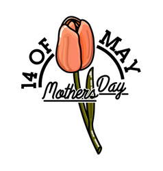 color vintage mothers day emblem vector image