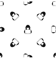 computer hacker with laptop pattern seamless black vector image
