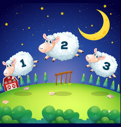 Counting sheeps jumping over fence vector