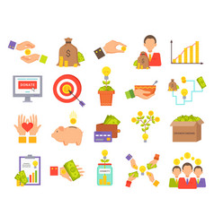 Crowdfunfing icons collection vector