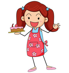 Cute girl holding cake doodle cartoon character vector