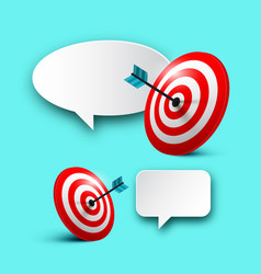 dartboarts with darts in targets and empty speech vector image