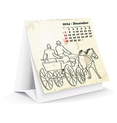December 2014 desk horse calendar - vector image