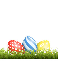 easter background with eggs in grass and with vector image