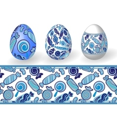 easter set isolated easter eggs and seamless vector image