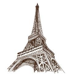 Eiffel tower hand drawn Paris vector image