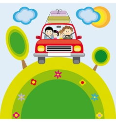 Family traveling car vector