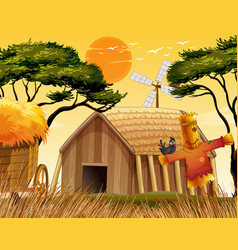 farm scene with scarecrow and barn vector image