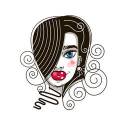 female beautiful face on white background art on vector image