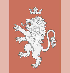 fighting lion insignia vector image