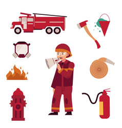 Fireman and extinguishing fire equipment set vector