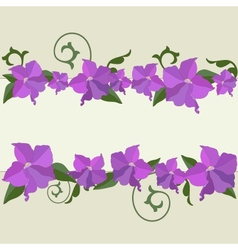 Garden flowers ornate frame background vector