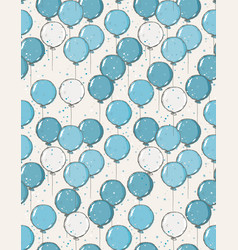 hand drawn blue balloons pattern vector image