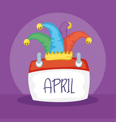Happy april fools day card with calendar and vector