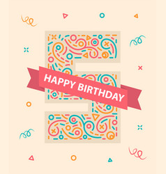 happy birthday number 5 colorful greeting card for vector image