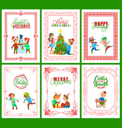 Happy holidays merry christmas greeting cards vector
