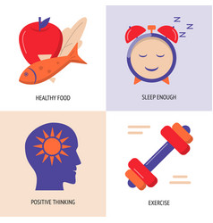 healthy lifestyle concept icons set in flat style vector image