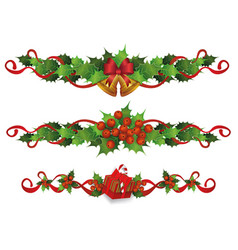 holiday border divider set - red holly berries vector image