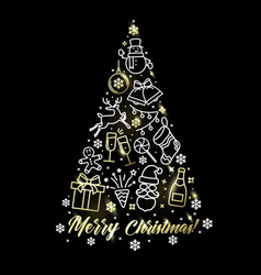 holiday tree with festive symbols and words merry vector image