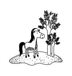 horse cartoon next to the trees in black sections vector image