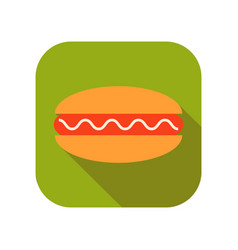Hot roll with sausage and sauce flat color icon vector