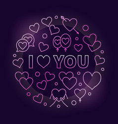 i love you pink outline vector image