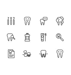 icon set health teeth dentistry dental vector image
