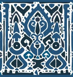 Ikat ornament waves tribal pattern vector