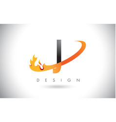 j letter logo with fire flames design and orange vector image