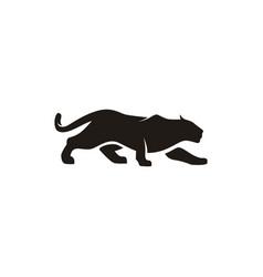 Jaguar puma cheetah panther silhouette logo design vector