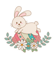 Little rabbit with egg painted and flowers easter vector