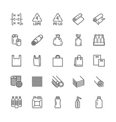 Low density polyethylene flat line icons ldpe vector