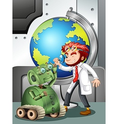 Mad scientist with robot and globe vector image