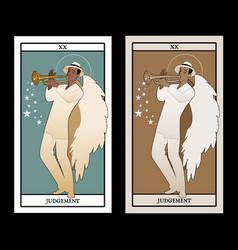 Major arcana tarot cards judgement archangel vector